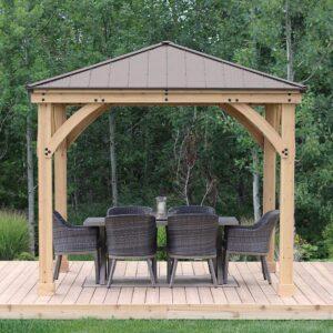 10 x 10 Wood Gazebo with Aluminum Roof