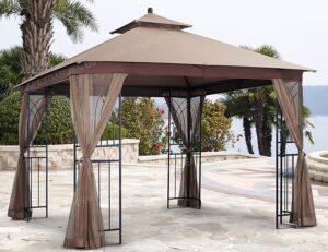 APEX GARDEN Harmony 10 ft. x 10 ft. Gazebo with Mosquito Net and Corner Shelves