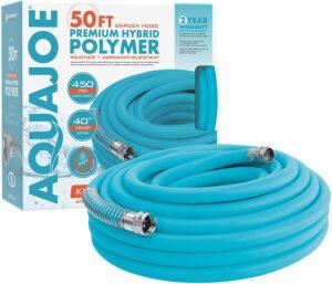 Aqua Joe AJPGH50-DWS 5/8 in 50 Ft. Hybrid Polymer Flex Kink-Free Hose