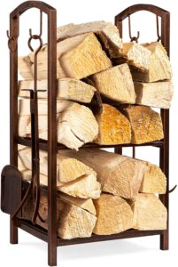Best Choice Products 5-Piece Indoor Outdoor Wrought Iron Firewood Log Storage Ra